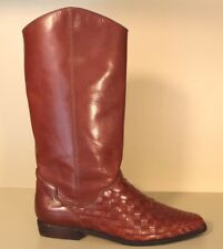 9c4b24d0e83 UNISA Flex Womens Boots Sz 7 B Brown Woven Leather Pull On Mid Calf Brazil
