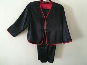 Vintage Unworn Chinese Style  Black & Red   Satin  Cropped Leg  Pyjamas  Medium