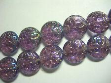 10 Lovely Czech Glass Button Beads 14mm Amethyst AB