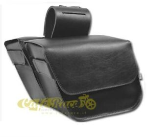 Side Panniers Willie & Max Slant 9 L Cad. Leather With Trim Sized
