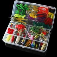 131pcs Fishing Lures Kit Mixed Crankbaits Hooks Minnow Bass Baits Tackle Box US