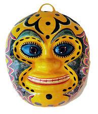 Vintage Mexican Folk Art Paper Mache Mask Emilio Sosa Medina Isla Mujeres Yellow