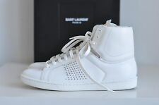 NIB Auth  Saint Laurent White Studded Leather Sneakers Lace-up Shoes 10 / 40