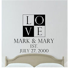 """""""LOVE"""" Personalized, Wedding Date With Names Vinyl Wall Decal"""