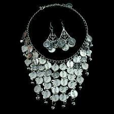 Bollywood Bauchtanz Belly Dance Schmuckset Kette + 1 Paar Ohrringe Silbermünzen
