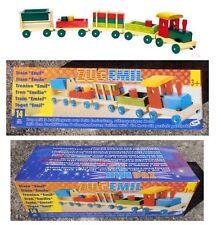 Trenino in legno Emil locomotiva con vagoni treno cm 75 di lunghezza Legler 1128