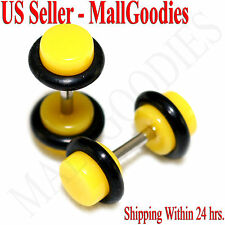 2055 Yellow Fake Cheaters Illusion Faux Ear Plugs 16G Bar 4G = 5mm - 2pcs