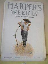 Vintage Print,SMOKE BREAK,Harpers Weekly Cover,August 7,1909