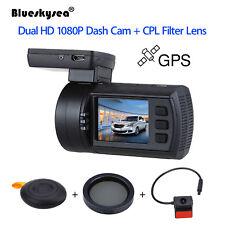 Mini 0906 Car Dash Camera DVR Recorder Dual HD 1080P Lens GPS DVR + CPL Filter