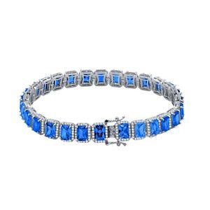 Unisex Blue Sapphire 18K White Gold Finish Simulated Diamonds Solitaire Bracelet