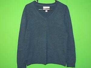 Ellen Tracy Women's Size L Large Blue 100% Wool V Neck Sweatshirt