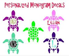 "Turtle Monogram Personalized 3"" Decal Vinyl Sticker Custom Yeti Cup Car Window"