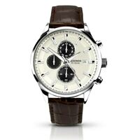 Sekonda 1177 Gents White Dial Stopwatch Date Leather Strap Watch RRP £89.99
