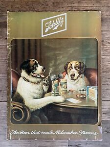 VINTAGE SCHILTZ BEER ADVERTISING SIGN 'THE BEER THAT MADE MILWAUKEE FAMOUS'