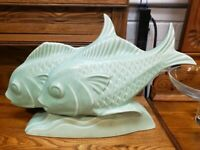 Circa 1930 French Art Deco Le Jan Mint Green Ceramic Craquelle Fish Sculpture