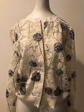 Preowned Valentino WHITE Floral Long sleeve Jacket Top  Size XL!!! MAXPERGIL