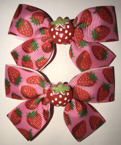 2 Cute Girls Strawberry Handmade Ribbon Hair Bows / Clasps / Clips