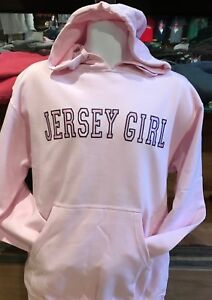 JERSEY GIRL PINK HOODED/HOODIE SATIN EMBROIDERED STYLE LETTERS NOT T/TEE SHIRT