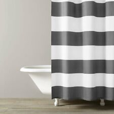 NEW Kassatex Hampton Stripe 100% Cotton Shower Curtain Spa White & Grey Linen