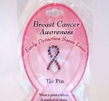 Breast Cancer Awareness Ribbon Tac Pin With Pink Crystal Rhinestones Donation