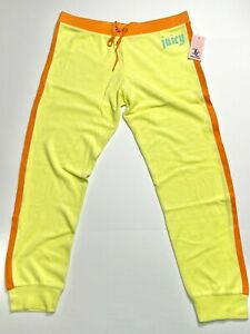 NWT Juicy Couture Terry Pant Jogger Sunny Lime Color Gothic Juicy Logo Size L