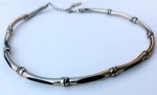 Metal Pipe Tube Choker Necklace With Black Cord Men Women Unisex Jewelry
