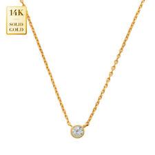 14K REAL Solid Gold Solitaire CZ Necklace Bazel-set Round CZ Minimalist Chain