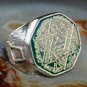 Seal of Solomon Ring Green Agate Sterling Silver Unique Handmade Talisman Solid