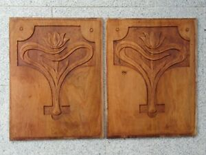 1 pair of hand-carved walnut wood panels, Art Nouveau around 1900.