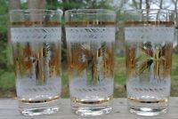 Set of 3 Vintage Highball Glasses Frosted with Gold Tumblers Vintage Barware