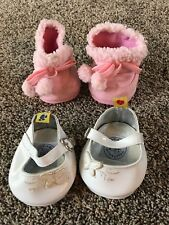 Build A Bear SHOES White Shiny Butterfly Shoe AND PInk Faux Suede Winter Boots