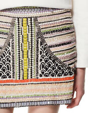 ZARA AZTEC SEQUINNED BEADED EMBELLISHED SKIRT SIZE XS SALE