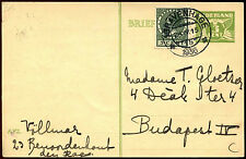 Netherlands 1936, 3c Green + 5c Stamp Stationery Postal Card Used #C36207