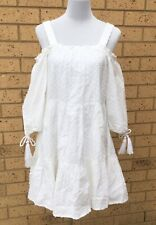 SEED HERITAGE Dress Sz S White Shift Strappy Cold Shoulder 3/4 Sleeve Textured