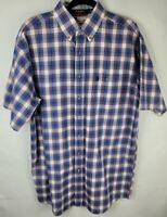 Wrangler Mens Size Large Tall Blue Plaid George Strait Short Sleeve Dress Shirt