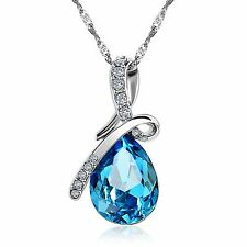 Necklace with Austria Crystal Sapphire Pendant #NE100982 top selling gift