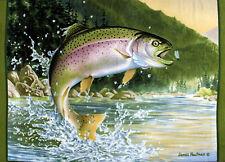 Fish Fly Fishing Rainbow Trout James Hautman Fleece Fabric Panel A331.05