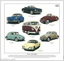CLASSIC VOLKSWAGEN - FINE ART PRINT - Beetle Transporter Karmann Ghia and Type 3
