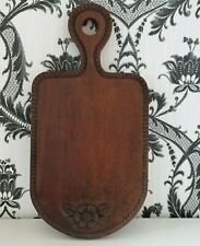 More details for bread board. large hand carved wood, wooden breadboard.