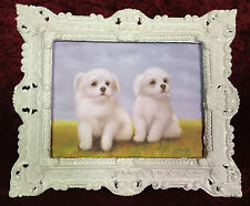 Bild mit Antik Rahmen Weiß Hündchen Hunde Baby Wandbild 45x38 Hunde Welpe