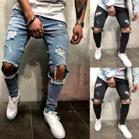 1X(Moda Streetwear Jeans Da Uomo Jeans Strappati Con Foro Al Ginocchio Pant R3K4