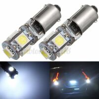 2PCS 150° BAX9S H6W 5 LED SMD LAMPADINE LUCI BIANCA CANBUS ERROR FREE PER AUTO