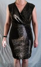 Black & Gold Fleck Sparkly Dress By Peacocks for Evening or Party Wear, Size 14