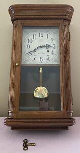"Vintage WALTHAM 31 Day Chime Wall Clock 24"" W/Key BEAUTIFUL Wood Works Great EC!"