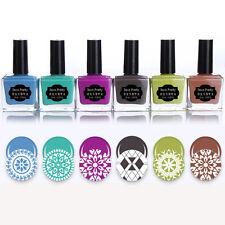6 Bottles 15ml BORN PRETTY Nail Art Stamping Polish Blue Purple Printing Varnish