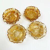 Carnival Glass Amber Harvest Grape Mini Bowl Set