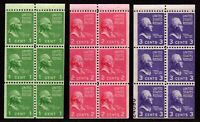 US Booklet Panes 804b, 806b, 807a (807a with part plate number) Mint, o.g., NH