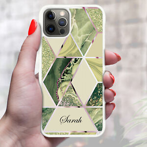 Personalised Marble Phone Case Cover For Apple Samsung Initial Name - Ref Z14