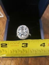 Ring Season Halo Oval White Sapphire Engagement Ring Size 5 3/4 Sterling Silver