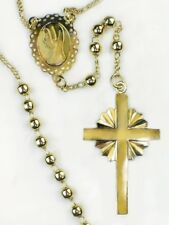 Gold Beads Religious Rosary / 24 inch round neck/ 14K GF/ First Communion Gift
